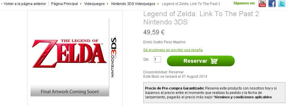 ¡Bomba! Zavvi lista Zelda A Link to the Past 2 para Nintendo 3DS