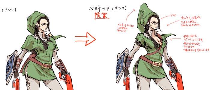 Detalles del traje de Link para Bayonetta
