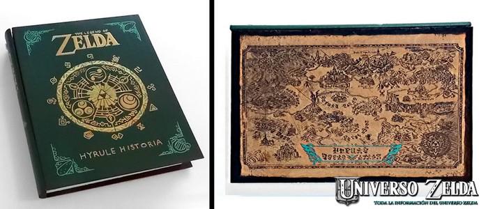 Caja con forma del libro Hyrule Historia y hecha de madera