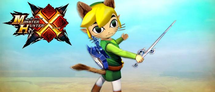 Atuendo de Link de The Wind Waker para gatadores en Monster Hunter Generations