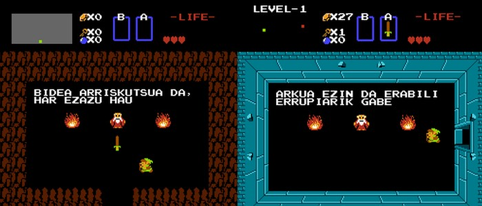 The Legend of Zelda de NES traducido al euskera por @Gamerauntsia