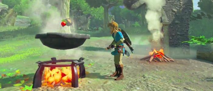 Link cocinando en Breath of the Wild