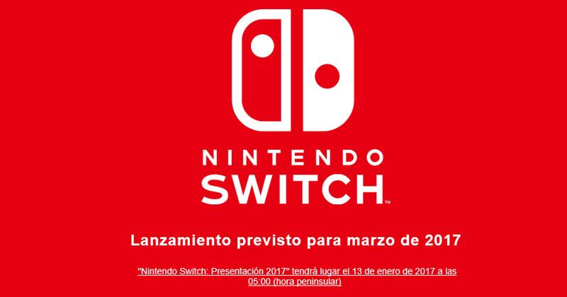 Presentación de Nintendo Switch en directo el 13 de enero