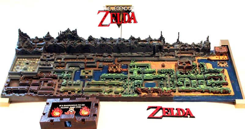 El mapa de Zelda 1 impreso en 3D