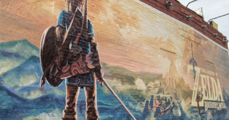 La creación del mural de Breath of the Wild en Nueva York