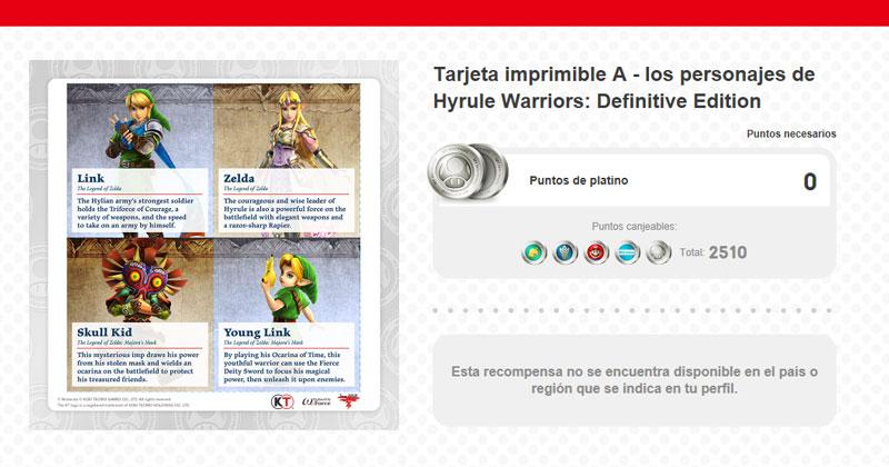 My Nintendo: tarjetas imprimibles de los héroes de Hyrule Warriors DE
