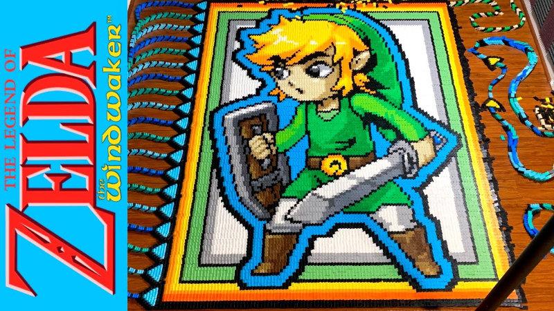 Impresionante tributo a Link de The Wind Waker hecho con 31,000 fichas de domino