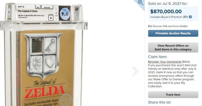 Una variante rara de The Legend of Zelda para NES se vende por 870,000.00$